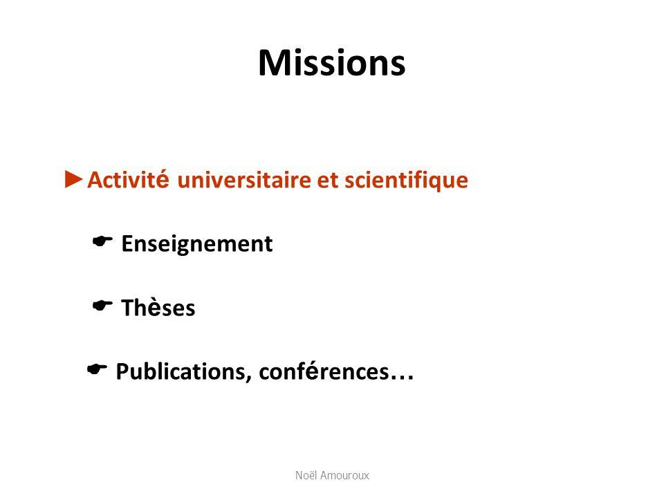 Missions ►Activité universitaire et scientifique  Enseignement  Thèses  Publications, conférences…