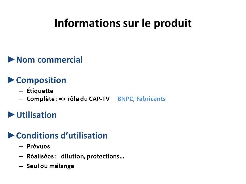 Informations sur le produit