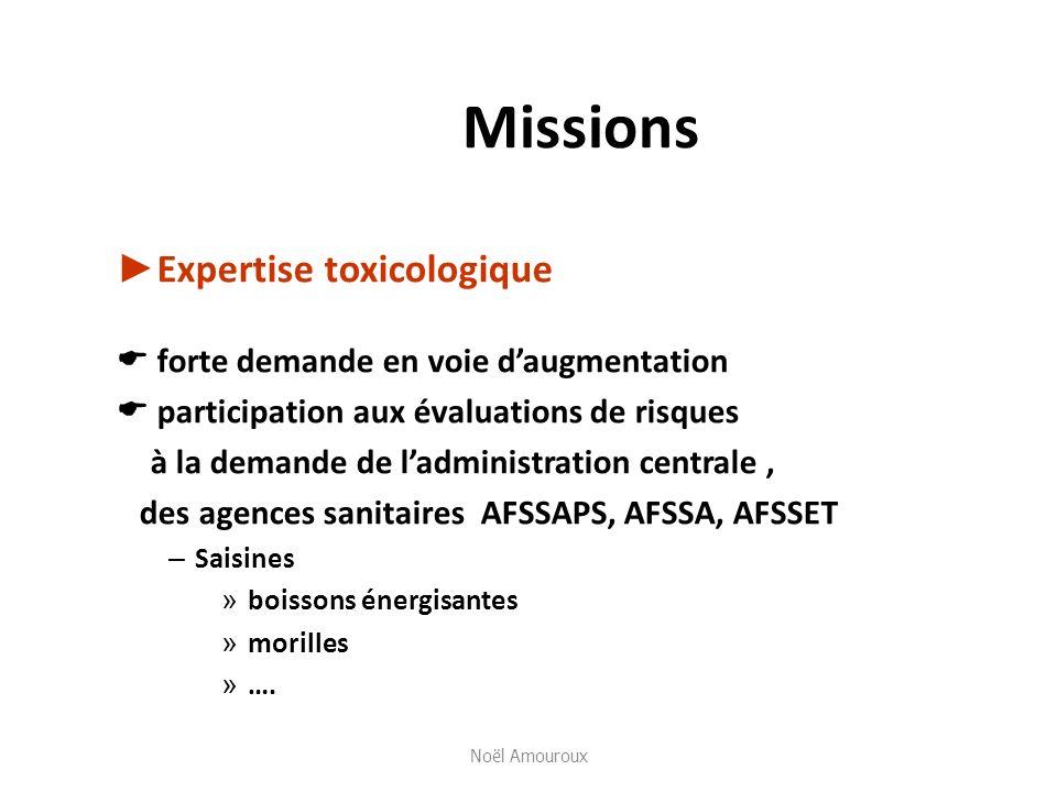 Missions ►Expertise toxicologique forte demande en voie d'augmentation