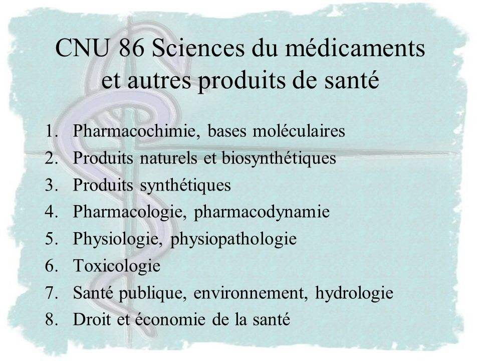 CNU 86 Sciences du médicaments et autres produits de santé