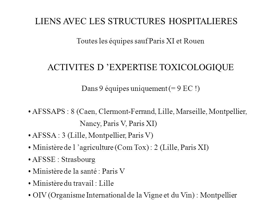 LIENS AVEC LES STRUCTURES HOSPITALIERES