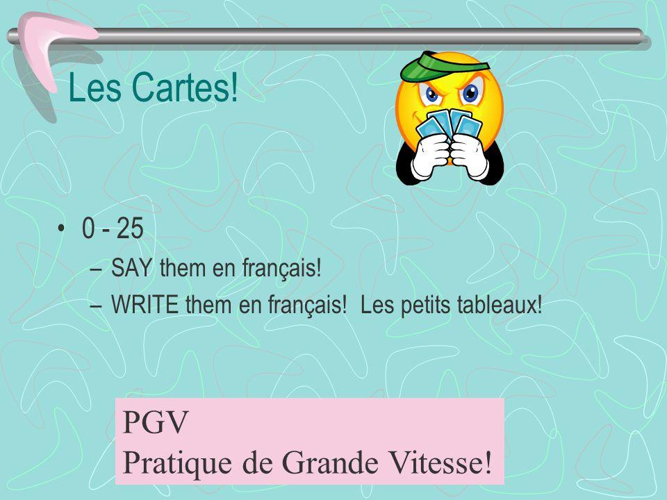 Les Cartes! PGV Pratique de Grande Vitesse! 0 - 25