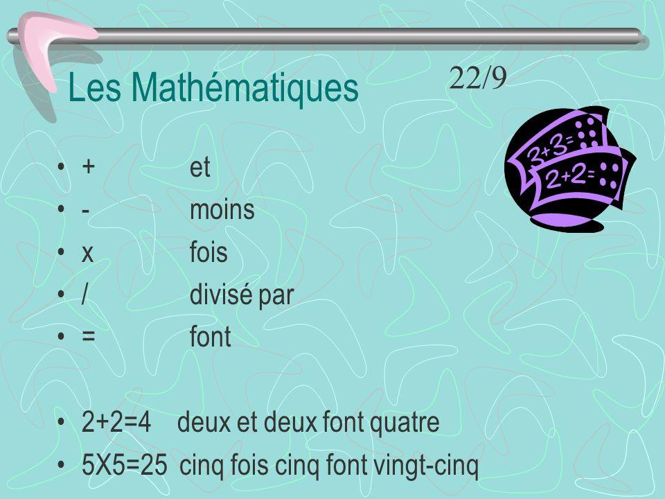 Les Mathématiques 22/9 + et - moins x fois / divisé par = font