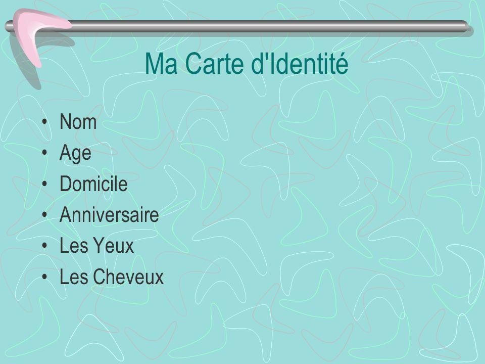 Ma Carte d Identité Nom Age Domicile Anniversaire Les Yeux Les Cheveux