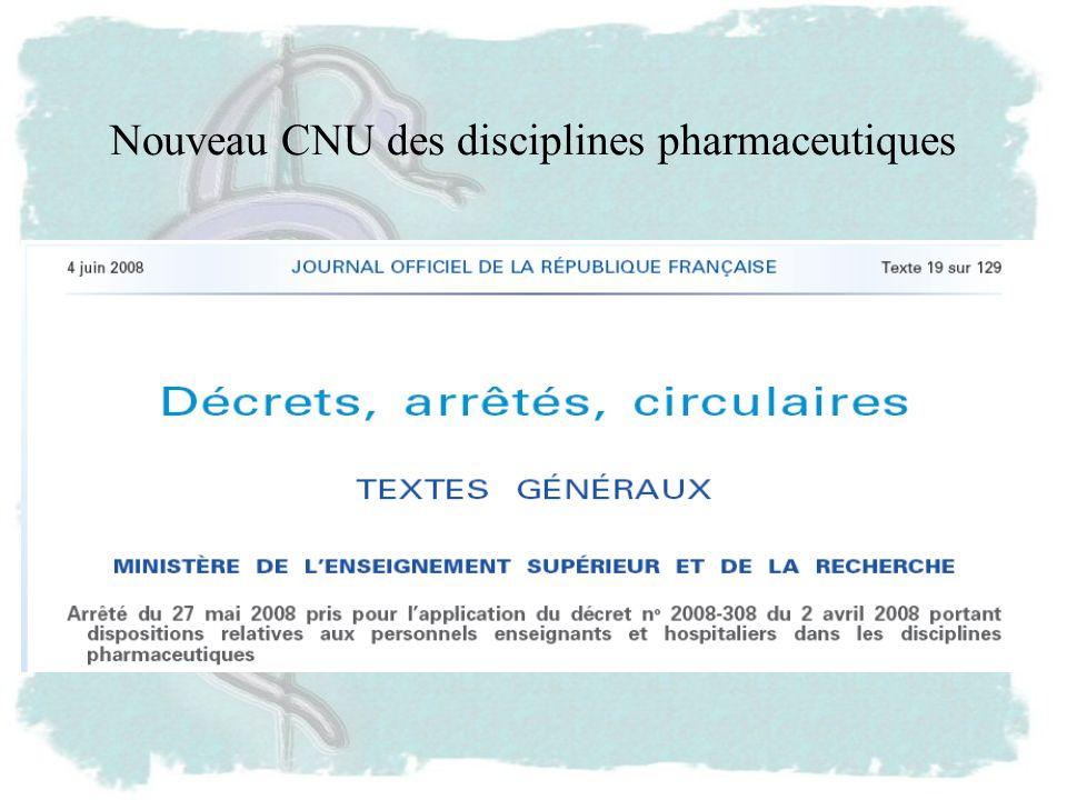 Nouveau CNU des disciplines pharmaceutiques
