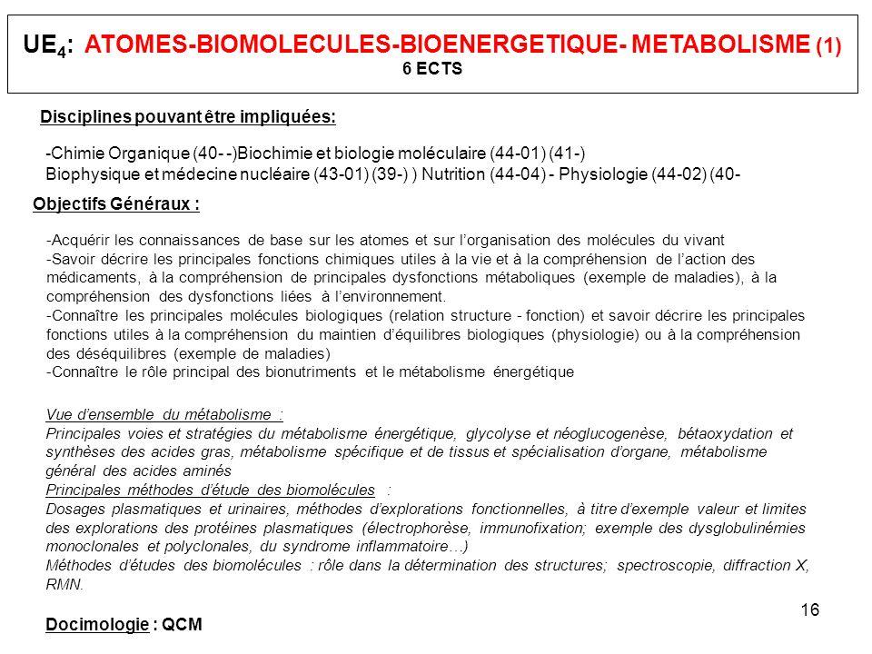 UE4: ATOMES-BIOMOLECULES-BIOENERGETIQUE- METABOLISME (1) 6 ECTS