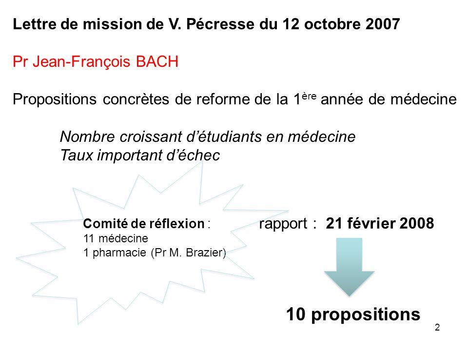 10 propositions Lettre de mission de V. Pécresse du 12 octobre 2007