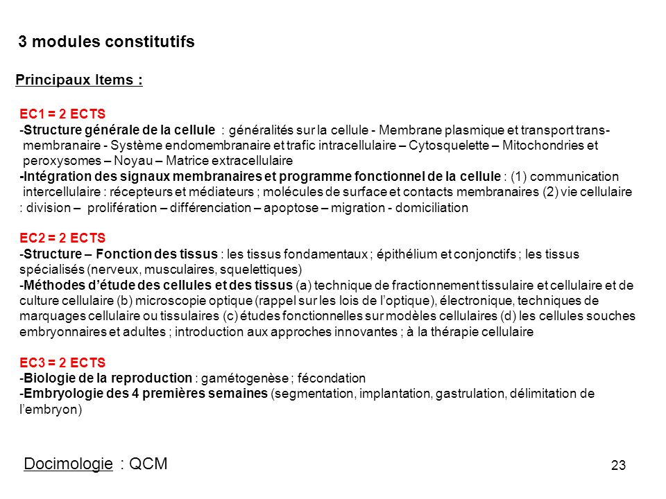 3 modules constitutifs Docimologie : QCM Principaux Items :