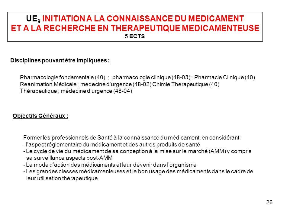 UE9 INITIATION A LA CONNAISSANCE DU MEDICAMENT