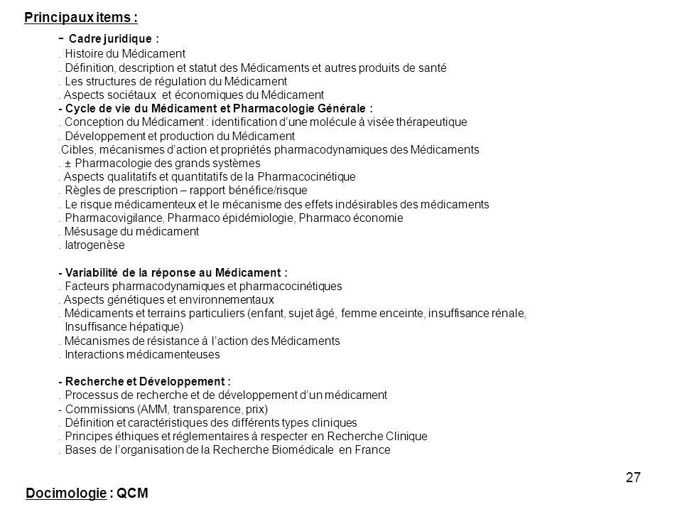 - Cadre juridique : Principaux items : Docimologie : QCM