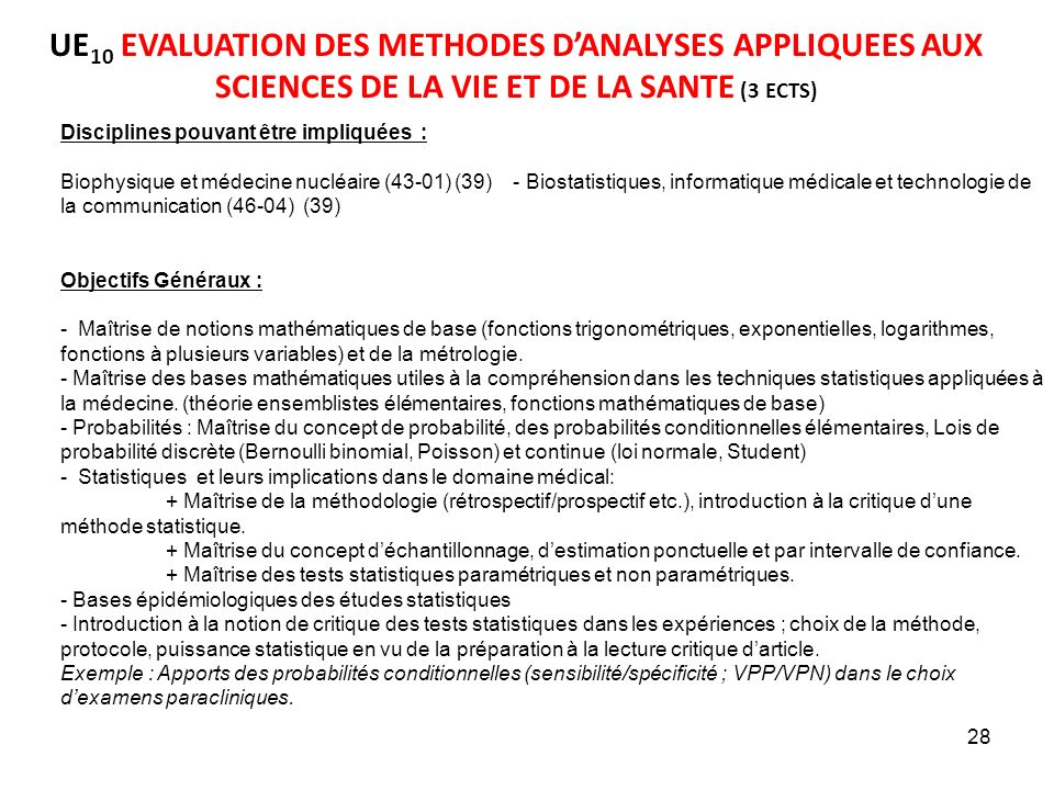 UE10 EVALUATION DES METHODES D'ANALYSES APPLIQUEES AUX SCIENCES DE LA VIE ET DE LA SANTE (3 ECTS)