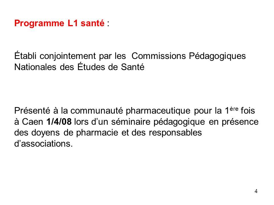 Programme L1 santé :Établi conjointement par les Commissions Pédagogiques Nationales des Études de Santé.