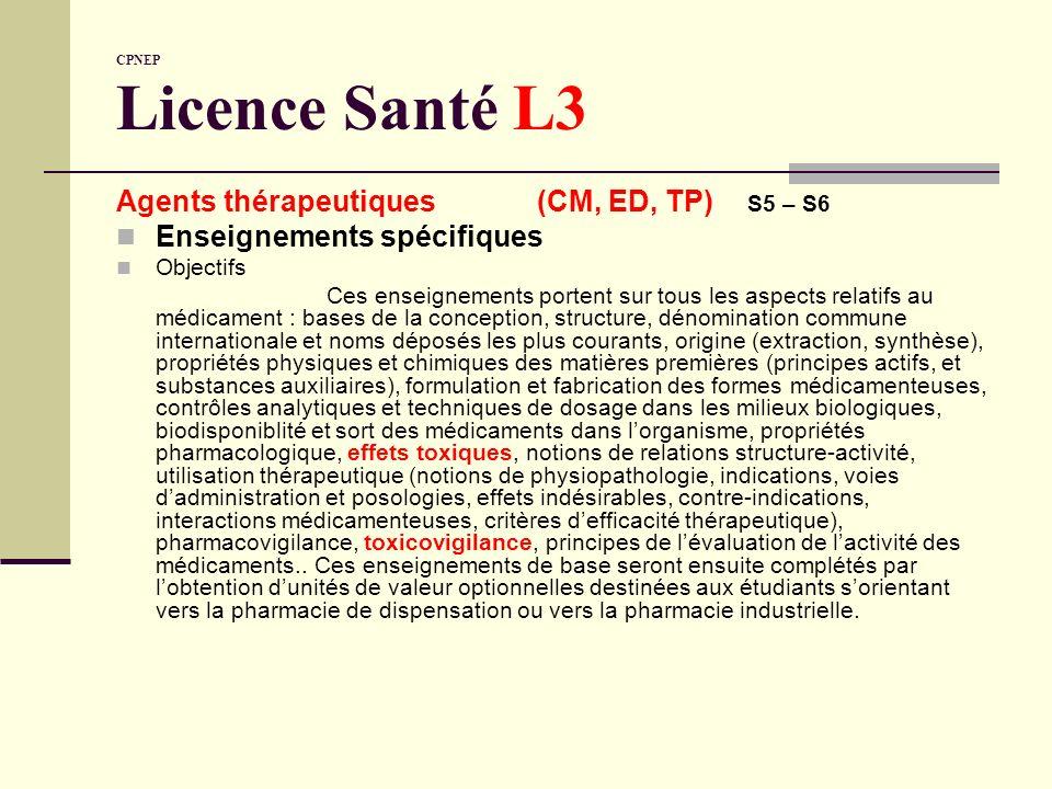 Agents thérapeutiques (CM, ED, TP) S5 – S6 Enseignements spécifiques