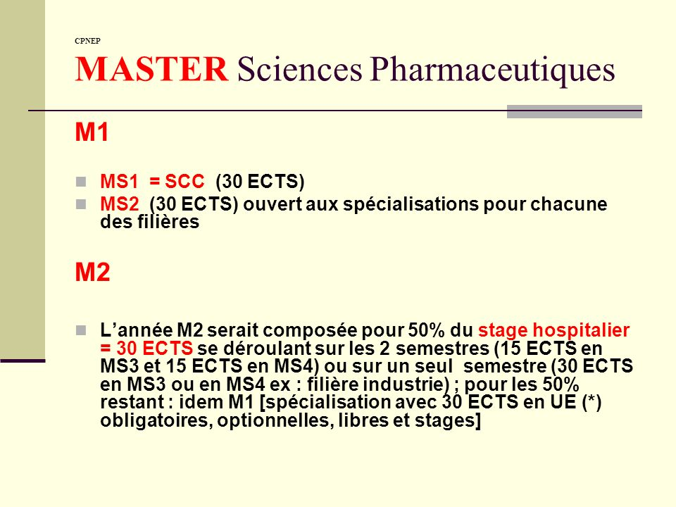 CPNEP MASTER Sciences Pharmaceutiques