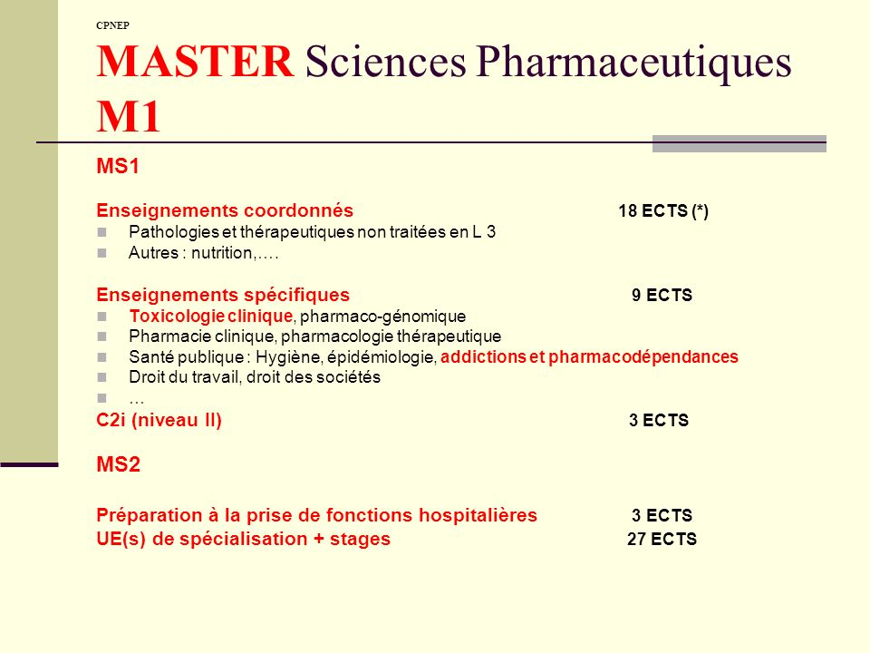CPNEP MASTER Sciences Pharmaceutiques M1