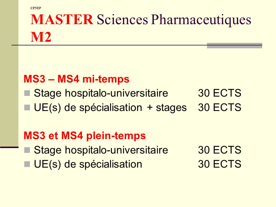 CPNEP MASTER Sciences Pharmaceutiques M2