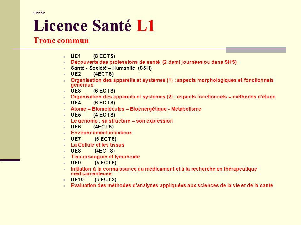 CPNEP Licence Santé L1 Tronc commun
