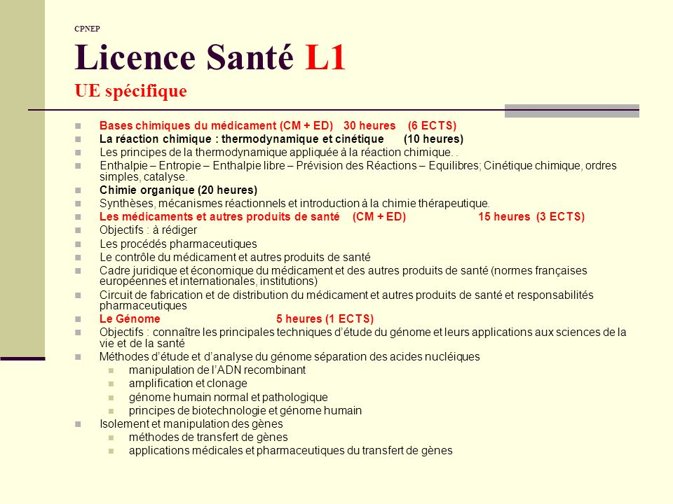 CPNEP Licence Santé L1 UE spécifique