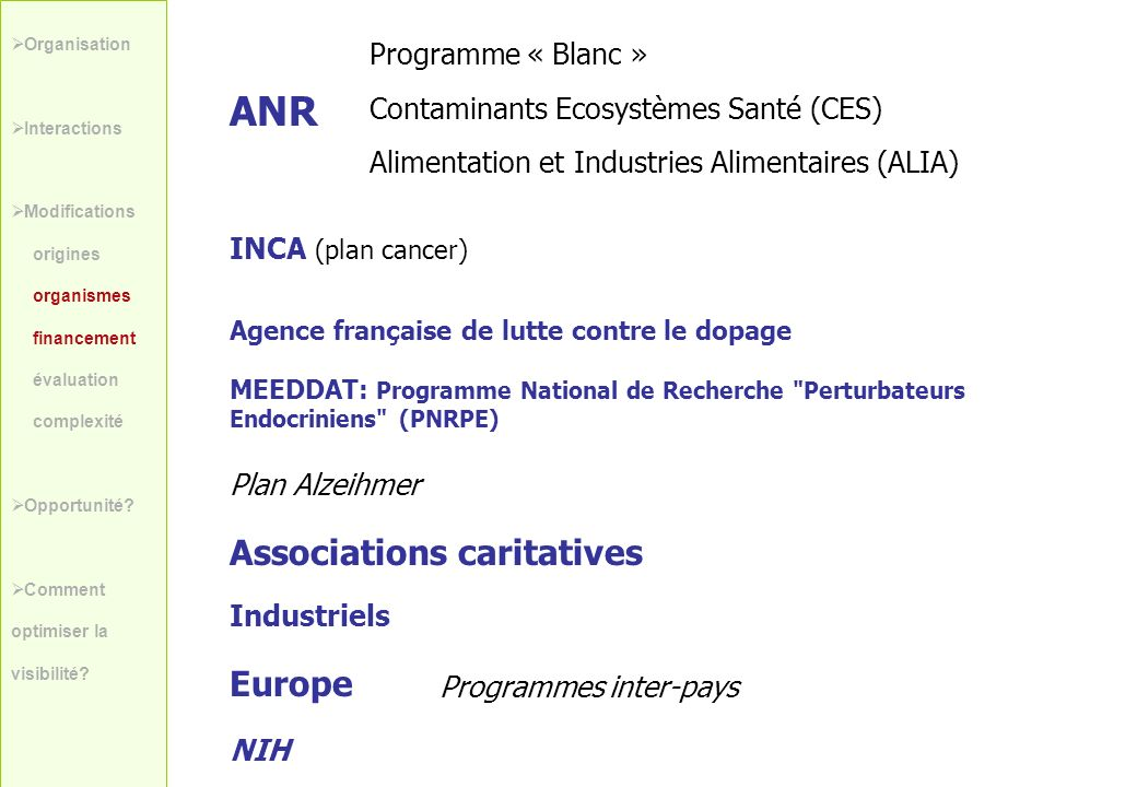 ANR Associations caritatives Europe Programme « Blanc »