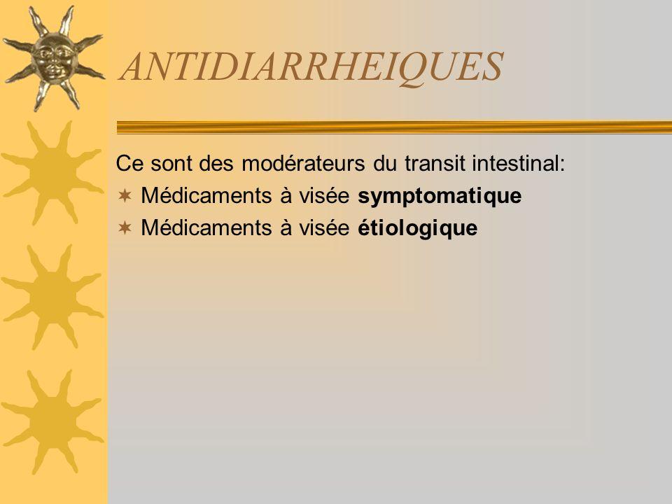 ANTIDIARRHEIQUES Ce sont des modérateurs du transit intestinal: