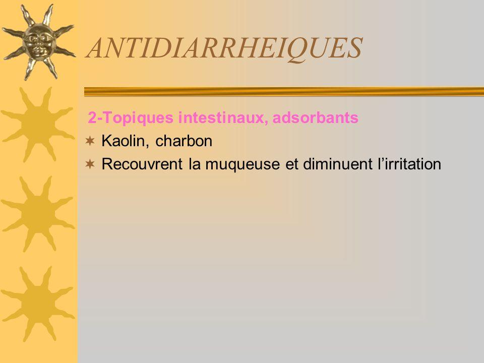 ANTIDIARRHEIQUES 2-Topiques intestinaux, adsorbants Kaolin, charbon