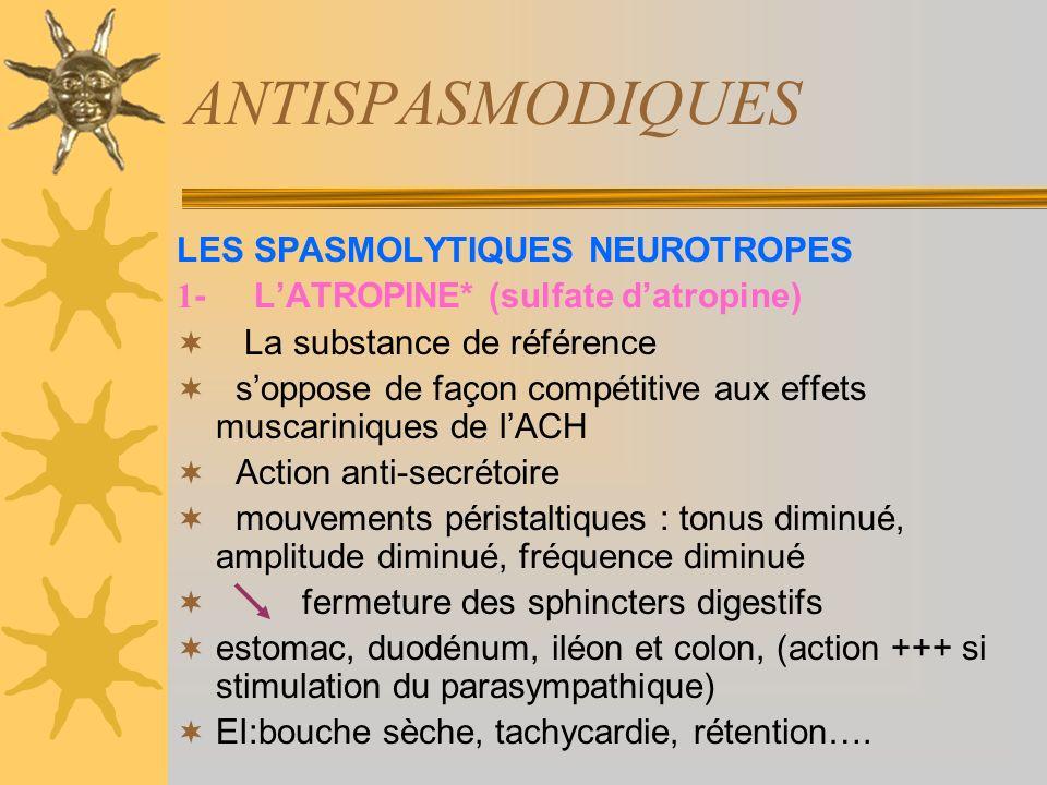 ANTISPASMODIQUES LES SPASMOLYTIQUES NEUROTROPES