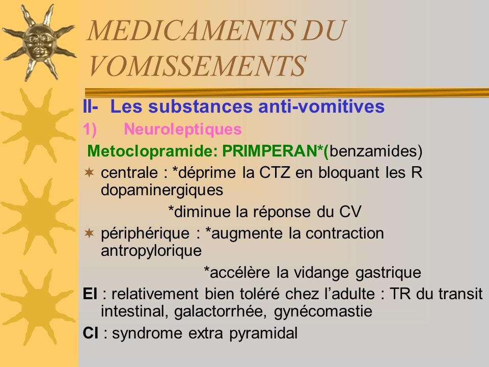 MEDICAMENTS DU VOMISSEMENTS