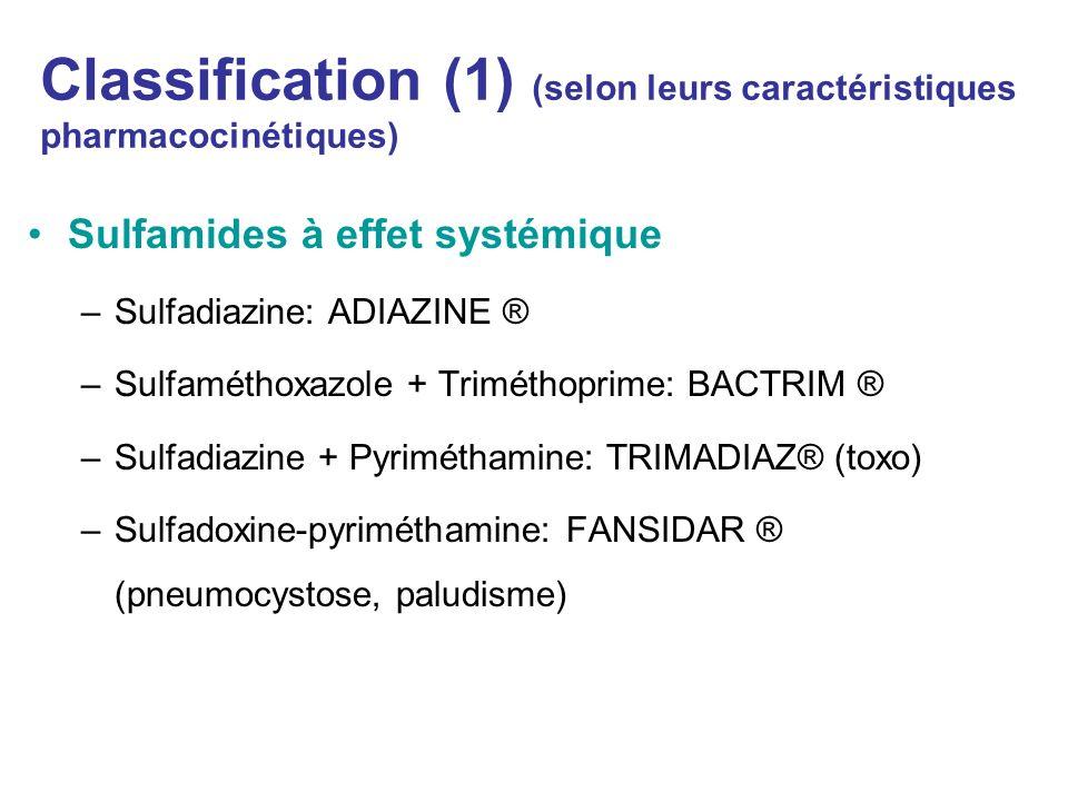 Classification (1) (selon leurs caractéristiques pharmacocinétiques)