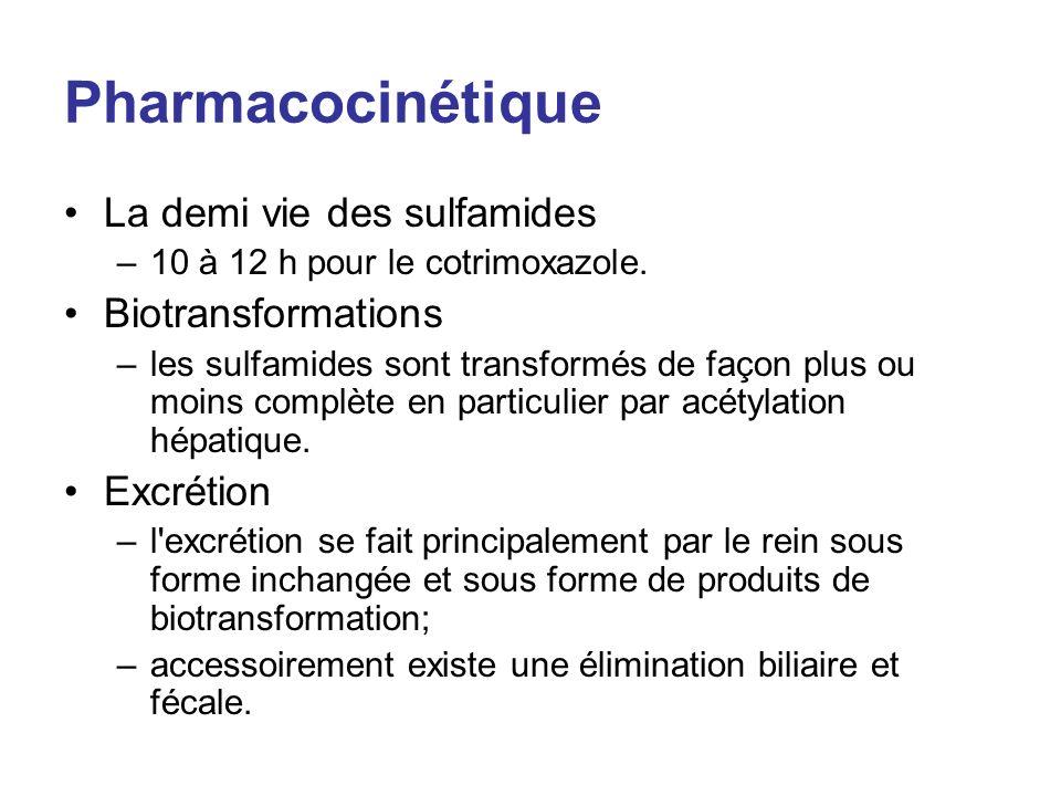 Pharmacocinétique La demi vie des sulfamides Biotransformations