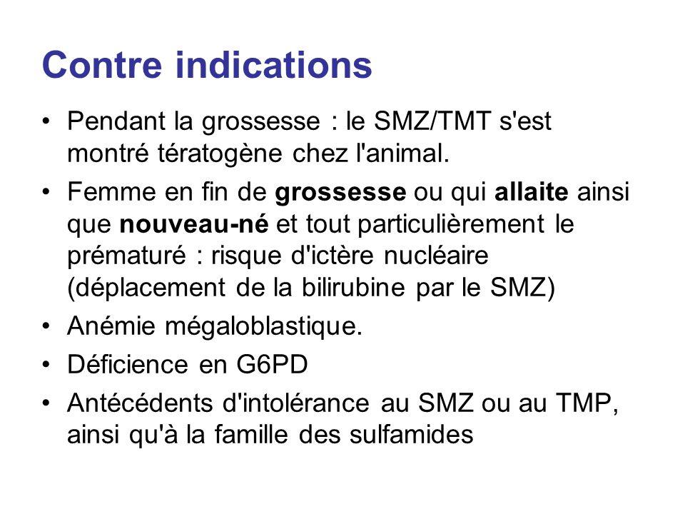 Contre indications Pendant la grossesse : le SMZ/TMT s est montré tératogène chez l animal.