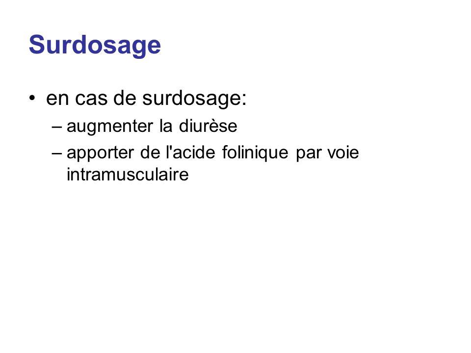 Surdosage en cas de surdosage: augmenter la diurèse