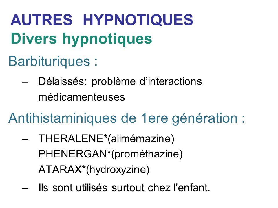 AUTRES HYPNOTIQUES Divers hypnotiques