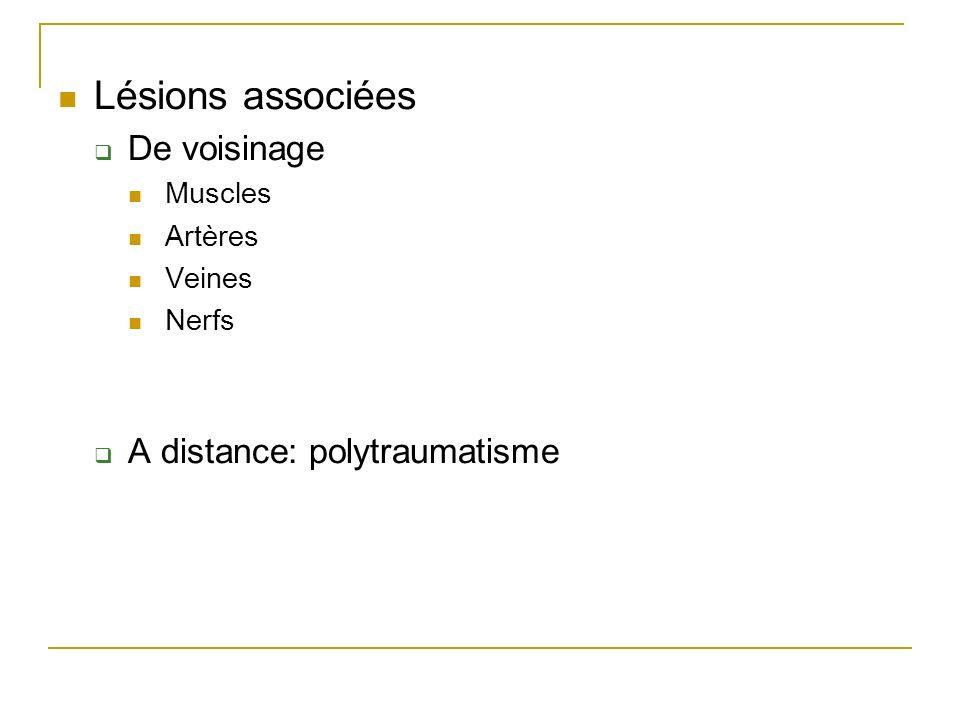 Lésions associées De voisinage A distance: polytraumatisme Muscles