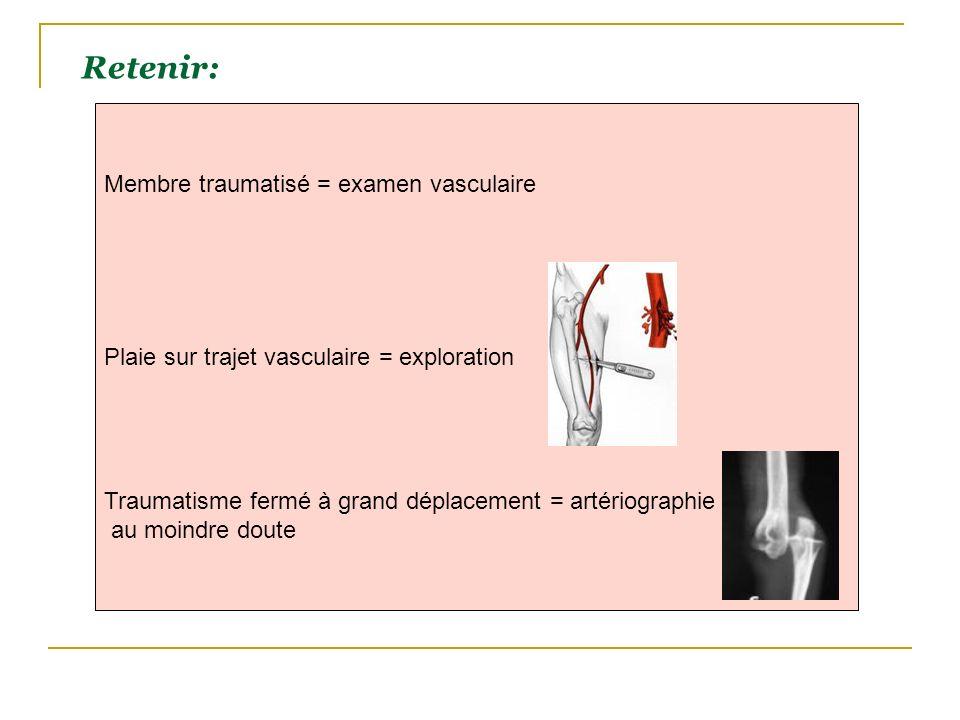 Retenir: Membre traumatisé = examen vasculaire