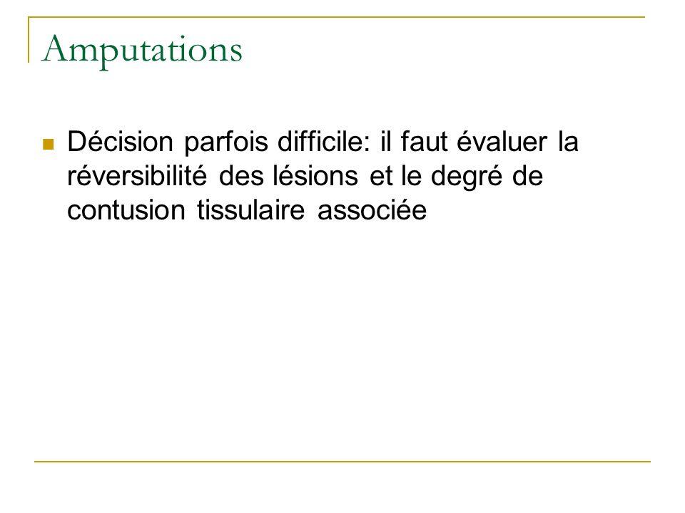 Amputations Décision parfois difficile: il faut évaluer la réversibilité des lésions et le degré de contusion tissulaire associée.
