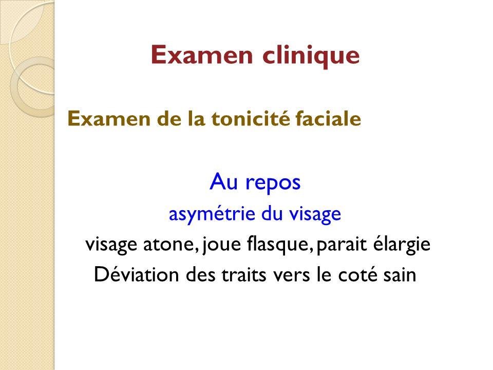 Examen clinique Au repos Examen de la tonicité faciale