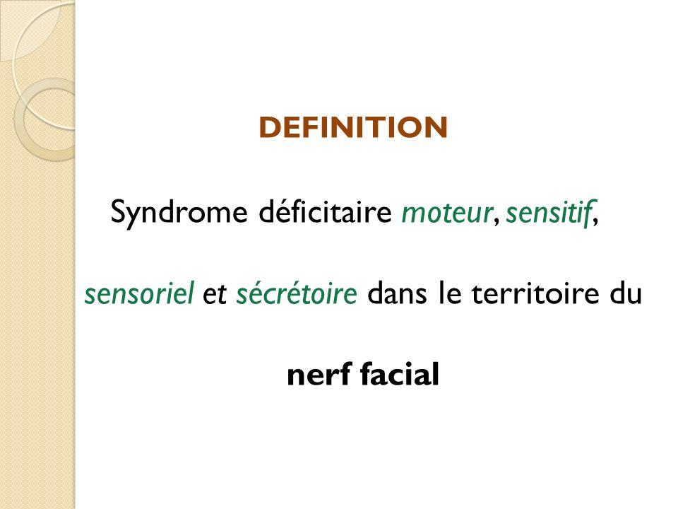 DEFINITION Syndrome déficitaire moteur, sensitif, sensoriel et sécrétoire dans le territoire du nerf facial.