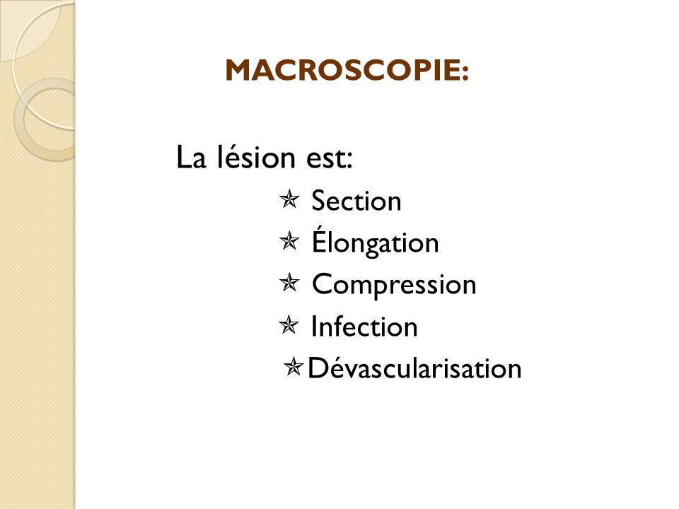 MACROSCOPIE: La lésion est:  Section  Élongation  Compression  Infection Dévascularisation