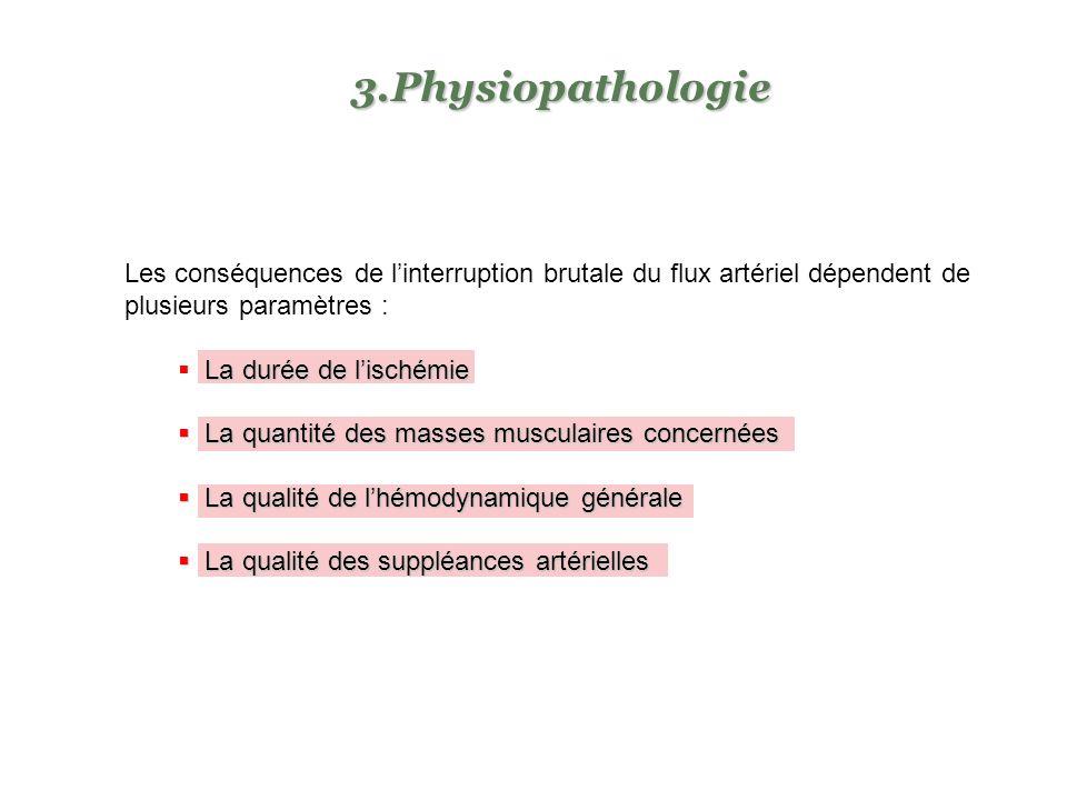 Physiopathologie Les conséquences de l'interruption brutale du flux artériel dépendent de plusieurs paramètres :