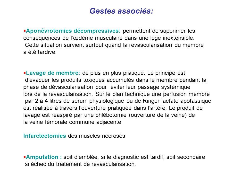 Gestes associés: Aponévrotomies décompressives: permettent de supprimer les. conséquences de l'œdème musculaire dans une loge inextensible.