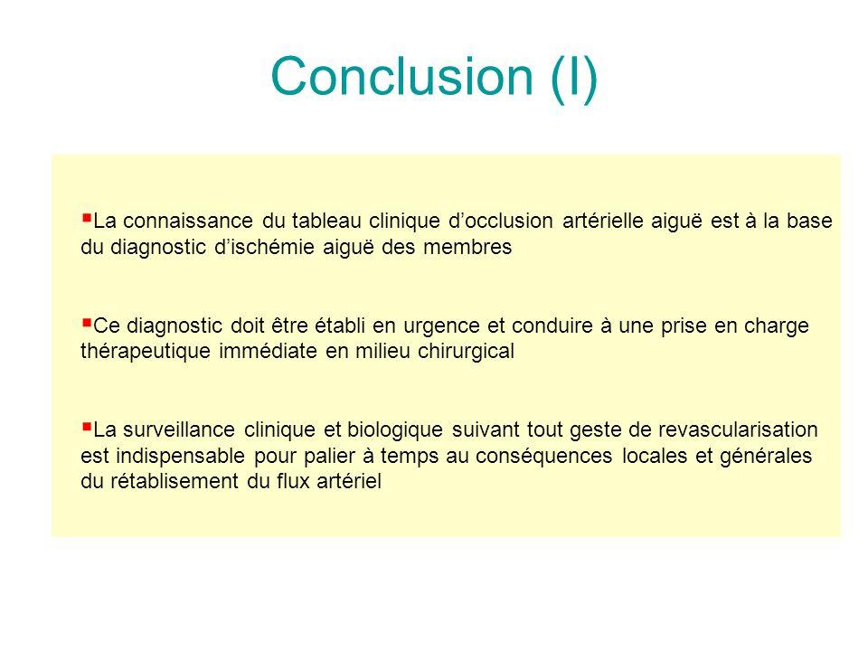 Conclusion (I) La connaissance du tableau clinique d'occlusion artérielle aiguë est à la base du diagnostic d'ischémie aiguë des membres.
