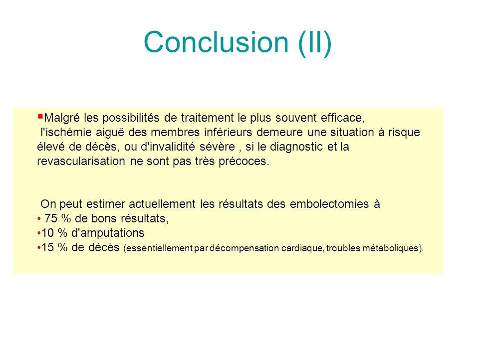 Conclusion (II) Malgré les possibilités de traitement le plus souvent efficace,