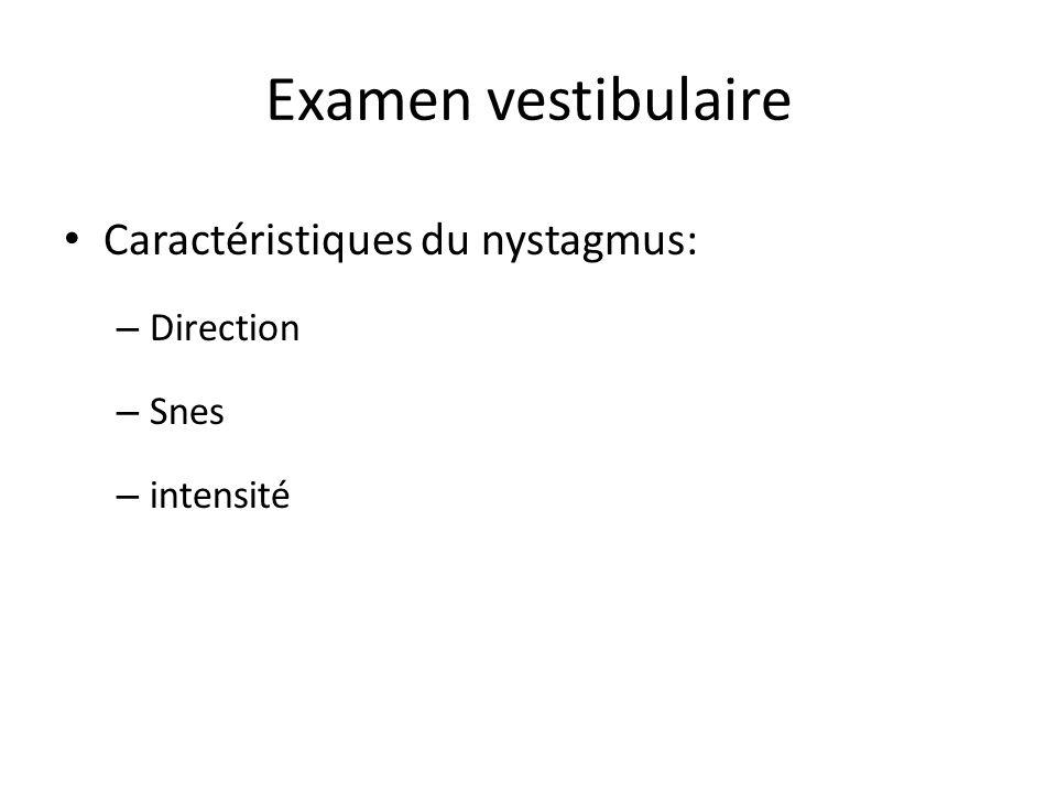 Examen vestibulaire Caractéristiques du nystagmus: Direction Snes