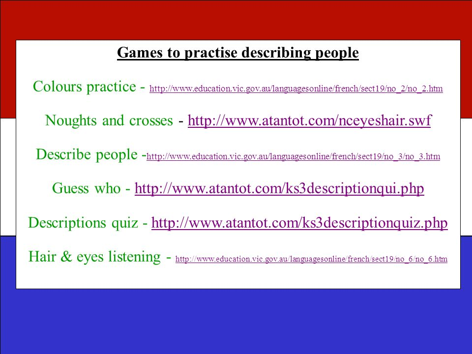 Games to practise describing people