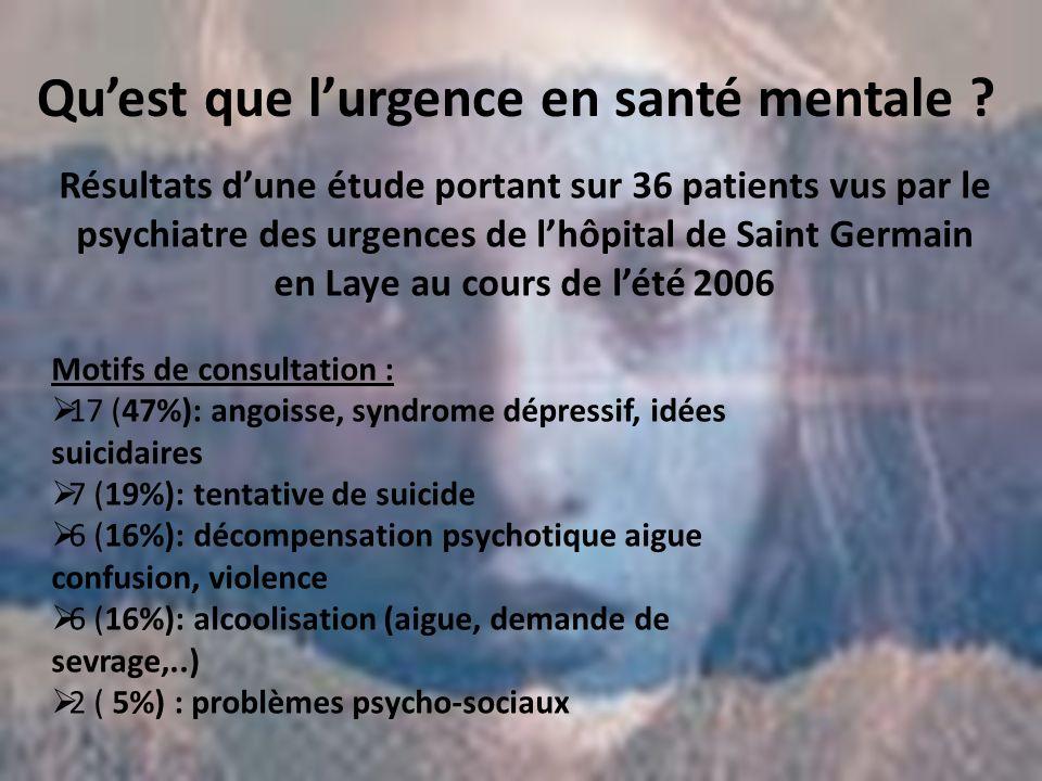 Qu'est que l'urgence en santé mentale