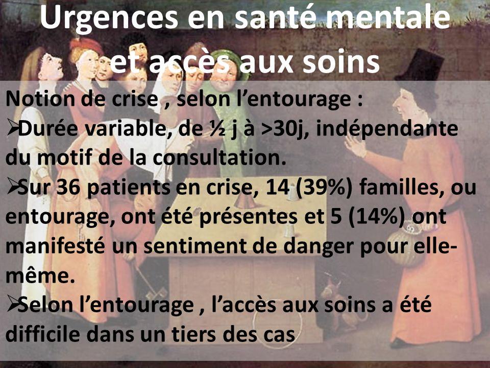 Urgences en santé mentale et accès aux soins