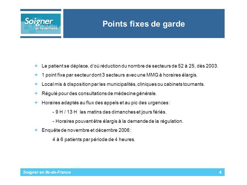 Points fixes de garde Le patient se déplace, d'où réduction du nombre de secteurs de 52 à 25, dès 2003.