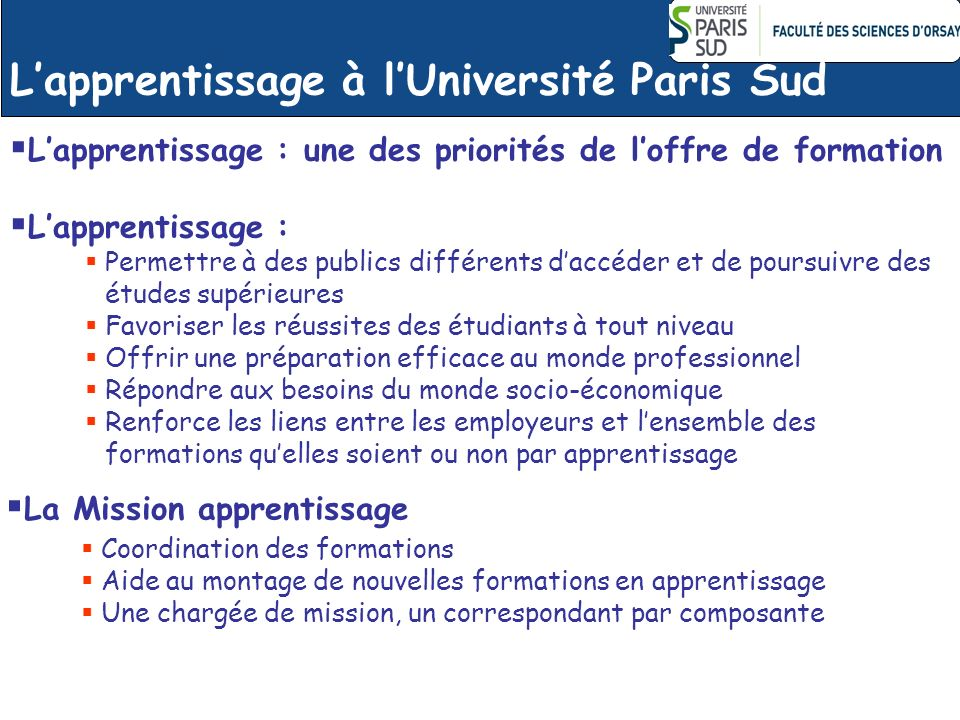 L'apprentissage à l'Université Paris Sud