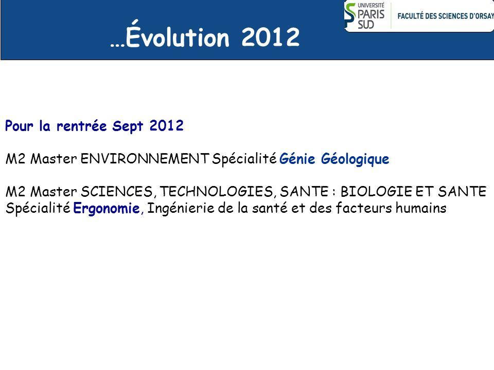…Évolution 2012 Pour la rentrée Sept 2012