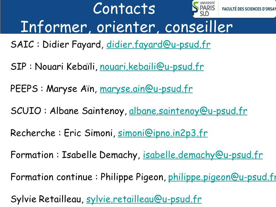 Contacts Informer, orienter, conseiller